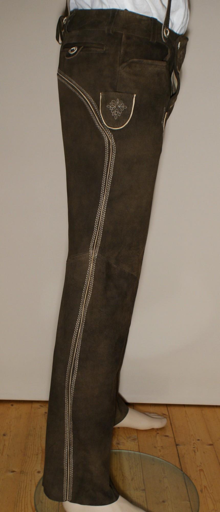 trachten lederhose trachtenlederhose lang braun. Black Bedroom Furniture Sets. Home Design Ideas